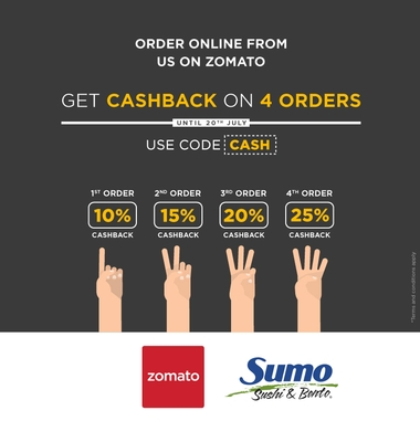 Get your CASH BACK when you order on Zomato.cm!